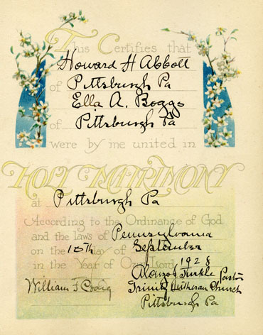 Howard Abbott and Ella Boggs Marriage Book Page 1