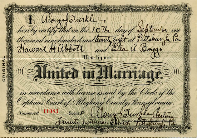 Howard and Ella Boggs Marriage Certificate