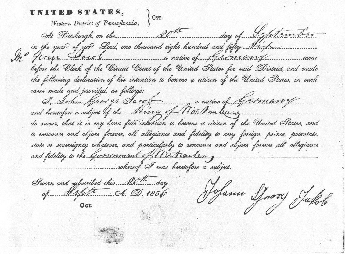 Guide to naturalization records examples of an 1856 declaration of intent thecheapjerseys Choice Image