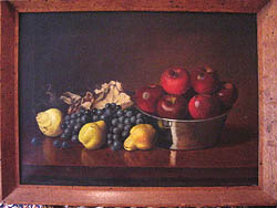 Oil Painting of apples, grapes, and pears