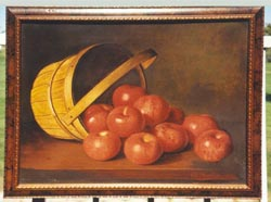 Oil Painting of apples spilling from basket