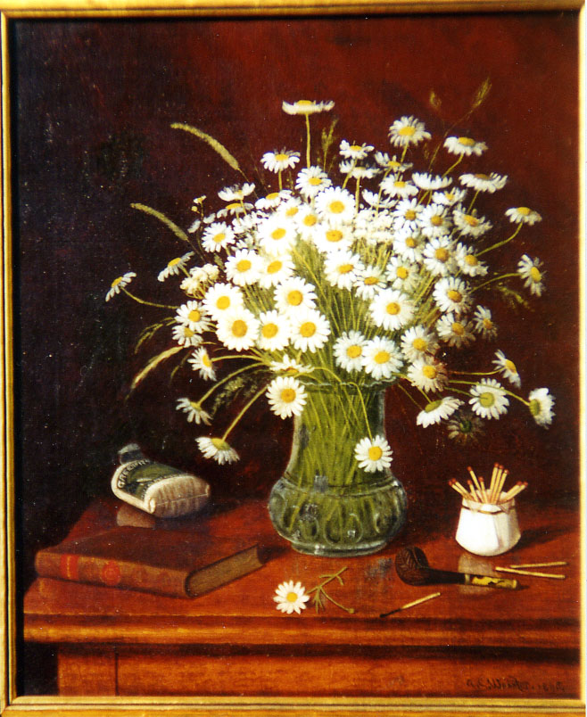 Stillife oil painting of daisies