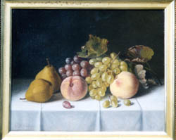 Oil Painting of grapes, peaches, and pears