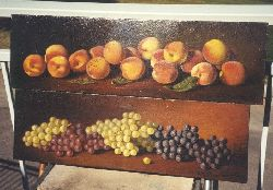 Oil Painting of peaches and grapes on table